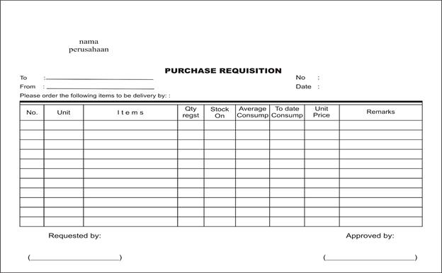 Contoh purchase order (po) dan purchase recquisition (pr)