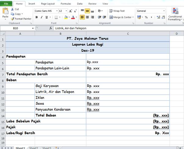 contoh laporan laba rugi untuk perusahaan jasa