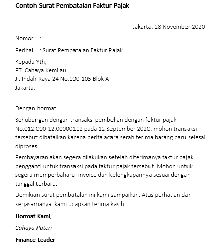 Contoh surat pembatalan faktur pajak