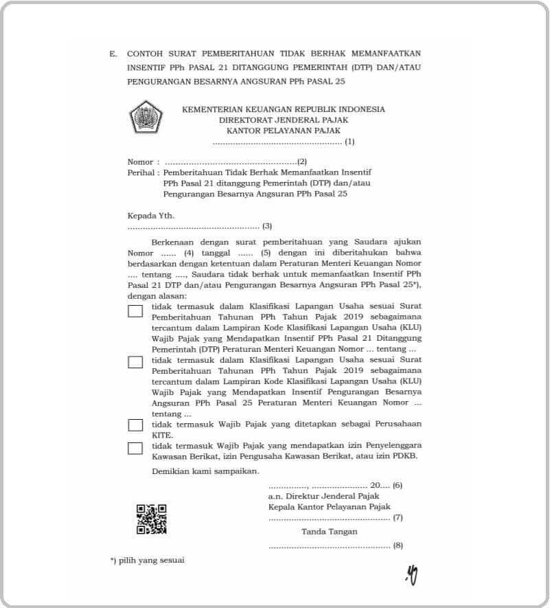 Surat pemberitahuan tidak berhak insentif pph 21