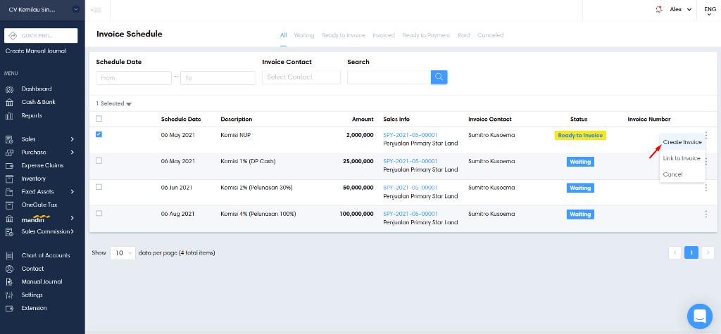 Create invoice komisi penjualan