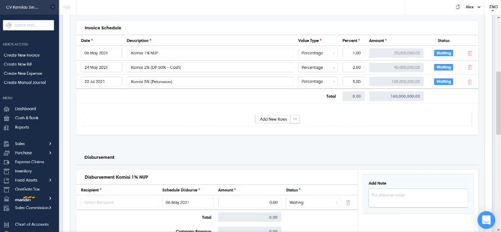 Edit invoice schedule