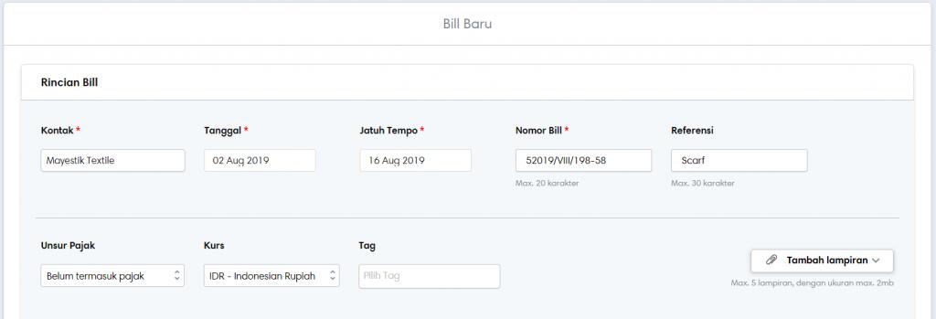 Input informasi menu bill