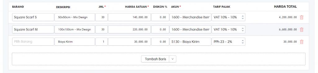 Input informasi pembelian